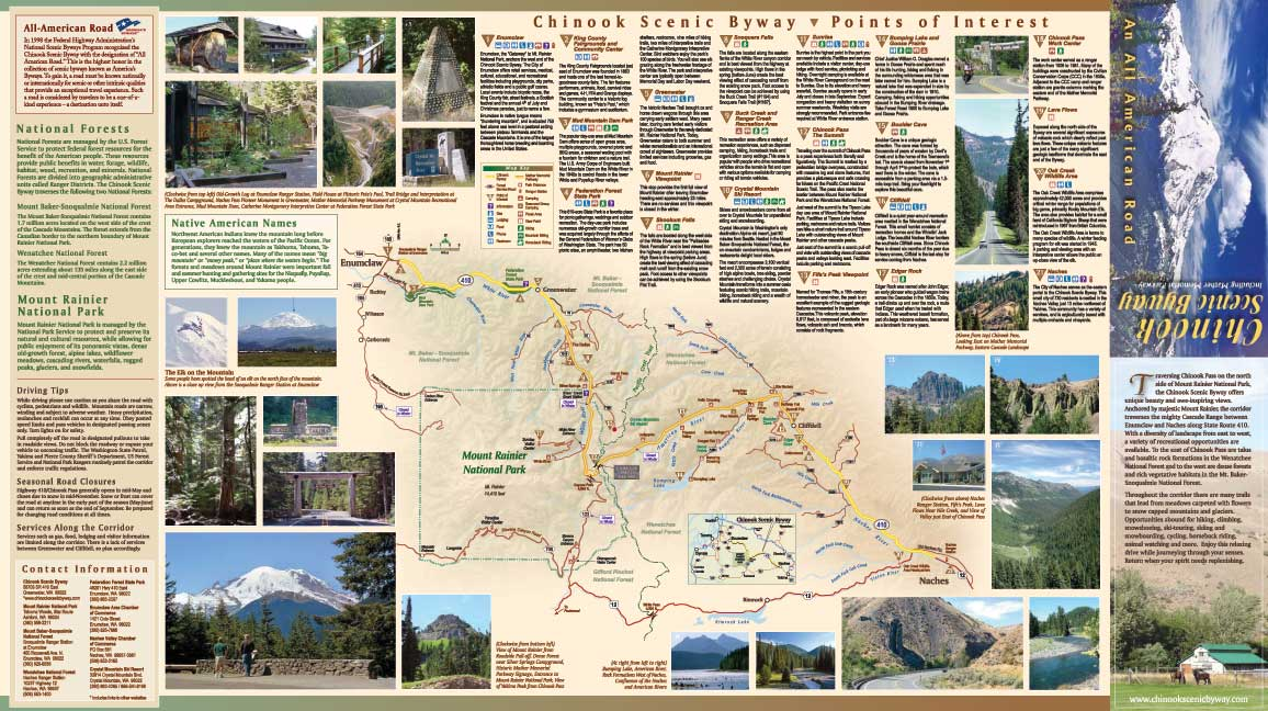 Chinook Scenic Byway Map Upper Valley Bulletin Board Serving