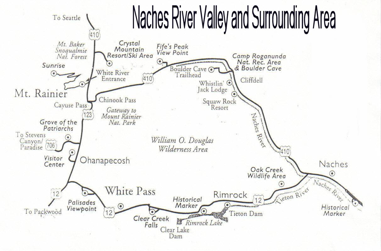 Map - Naches River Valley - White Pass - Chinook Pass - Washington